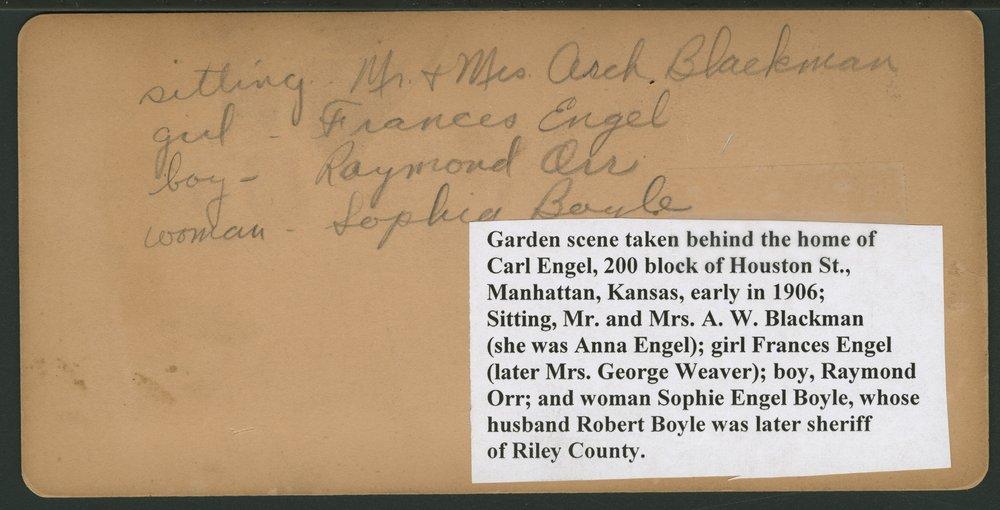 People in Carl Engel's garden in Manhattan, Kansas - 2
