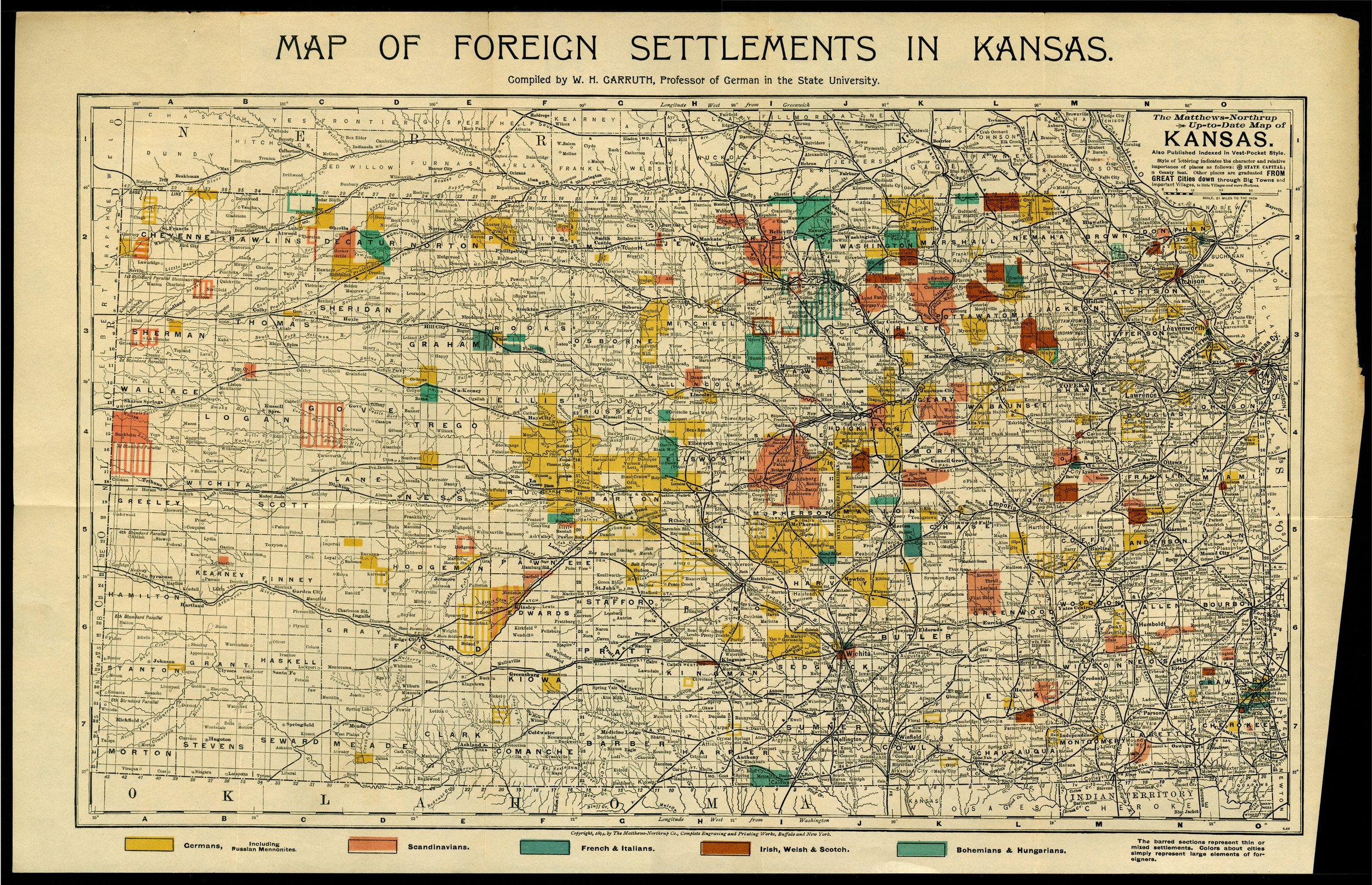 Map of foreign settlements in Kansas