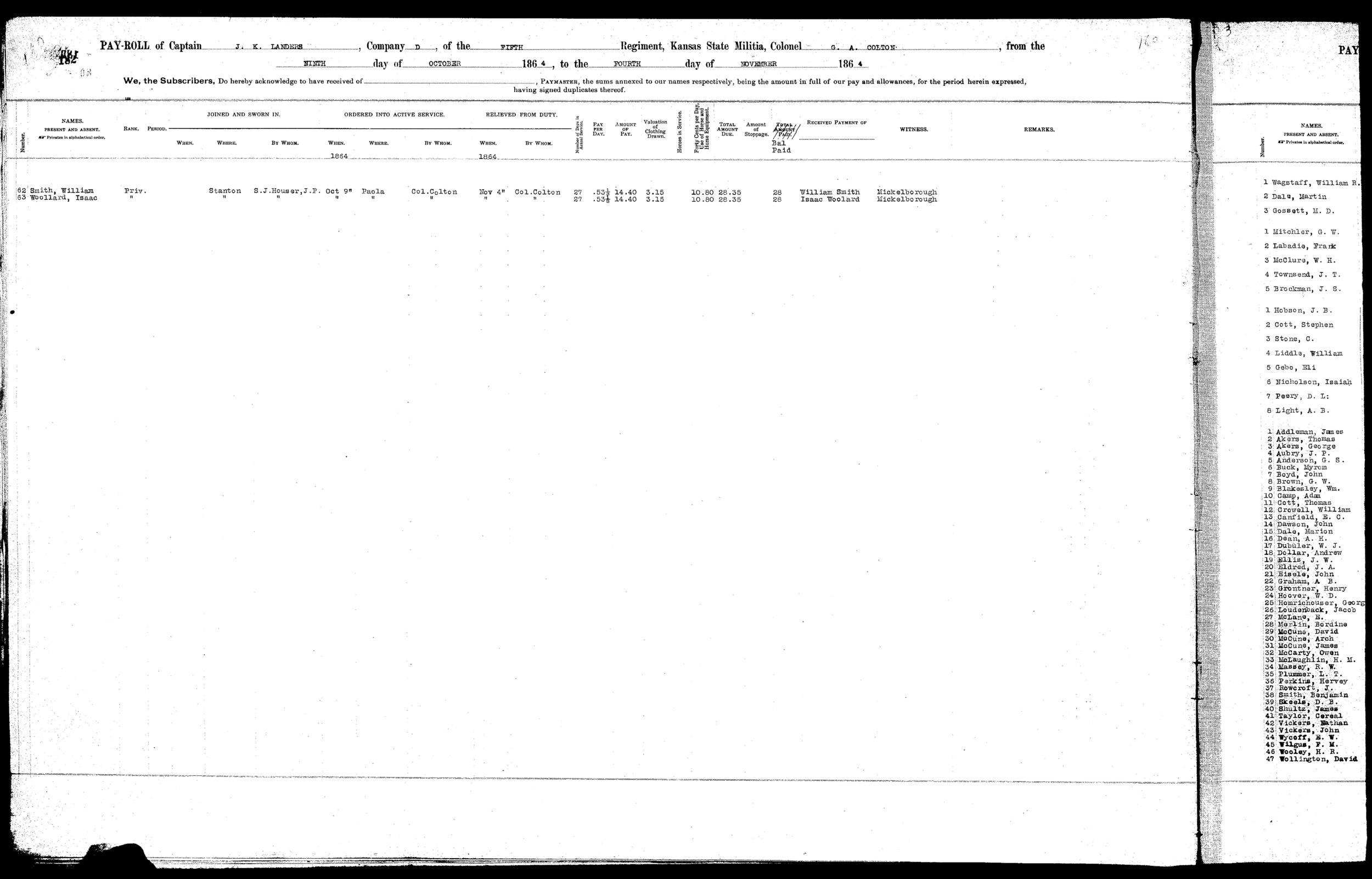 Muster rolls, Kansas State Militia, volume  3 - 11