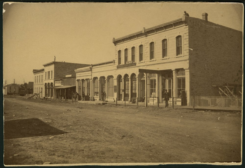 Buildings in the 300 block of Cottonwood Street in Strong City, Kansas