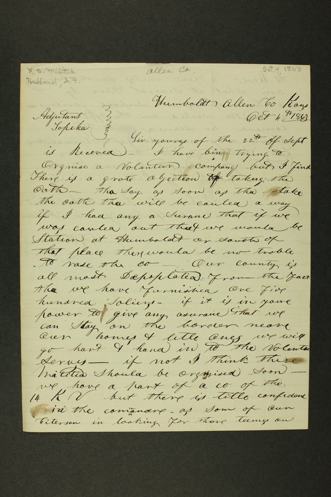 Kansas State Militia miscellaneous papers by county - 1 [Allen County]