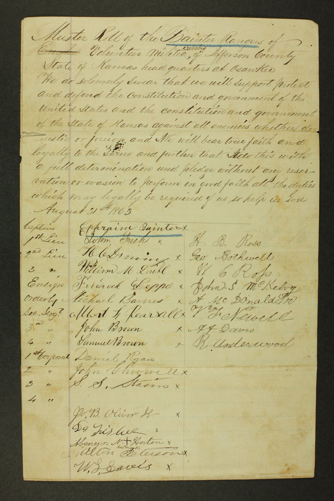 Kansas State Militia miscellaneous papers by county - 1 [Jefferson County]