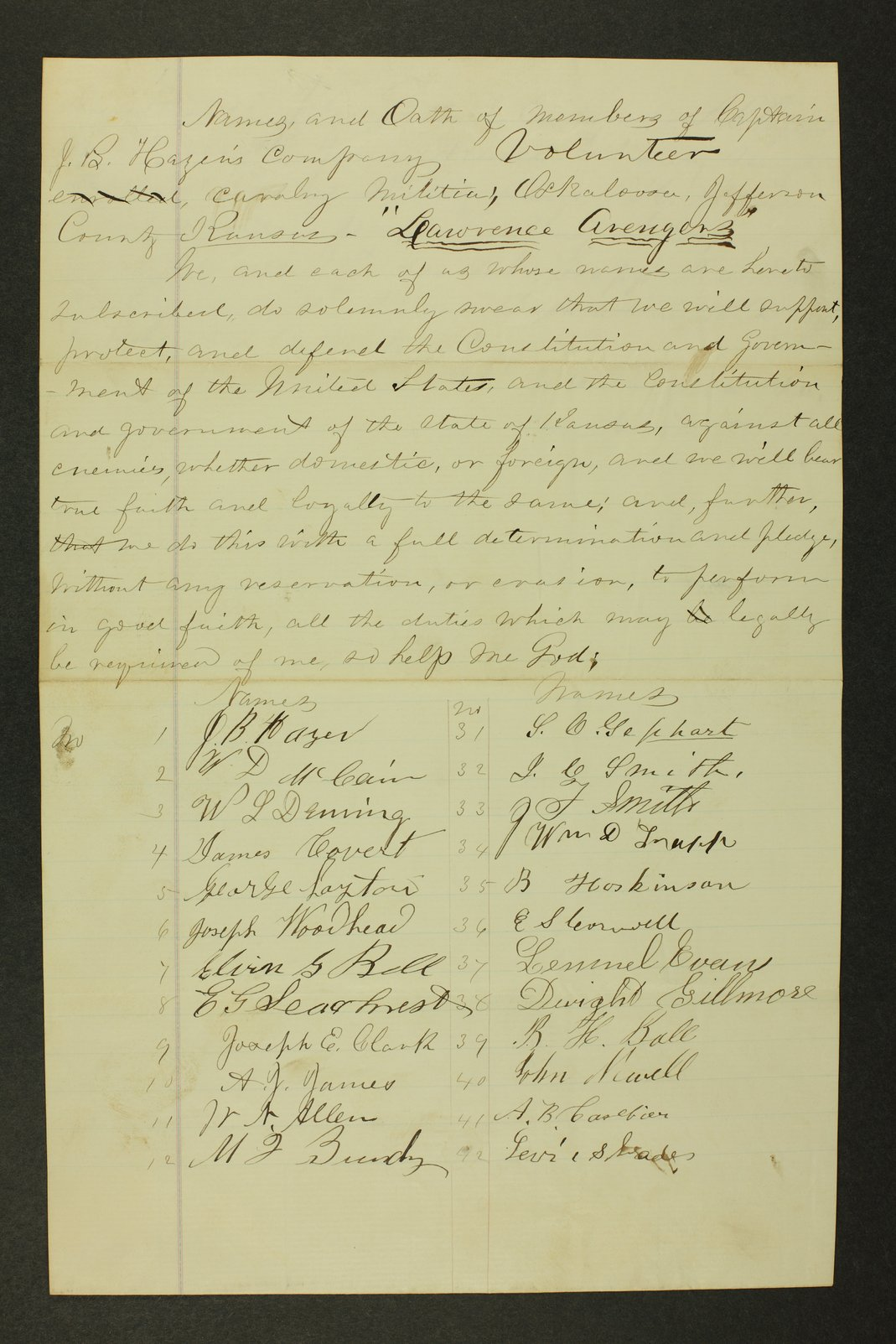 Kansas State Militia miscellaneous papers by county - 31