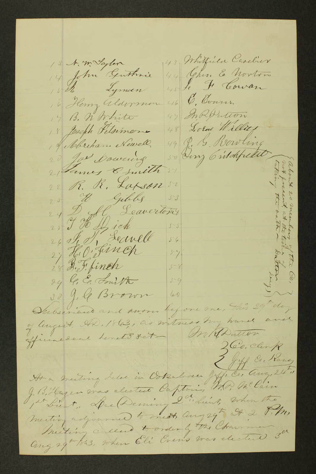 Kansas State Militia miscellaneous papers by county - 32