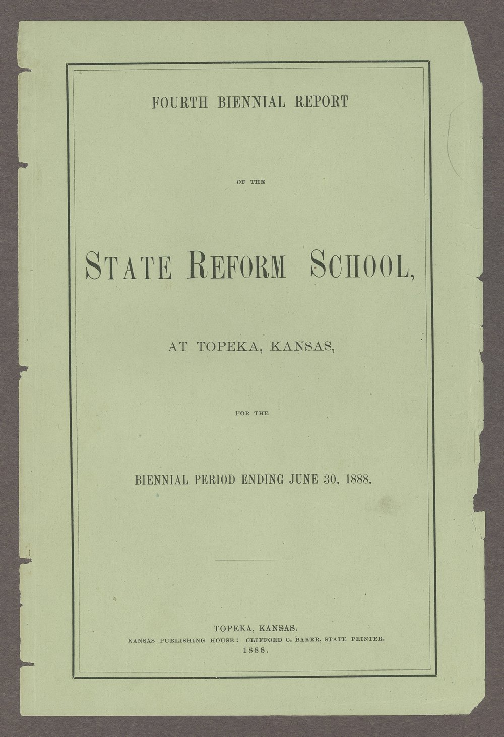 Biennial report of the State Reform School, 1888 - Front Cover