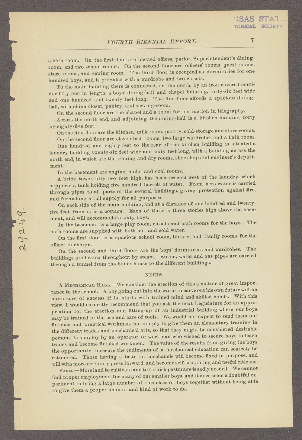 Biennial report of the State Reform School, 1888 - 7