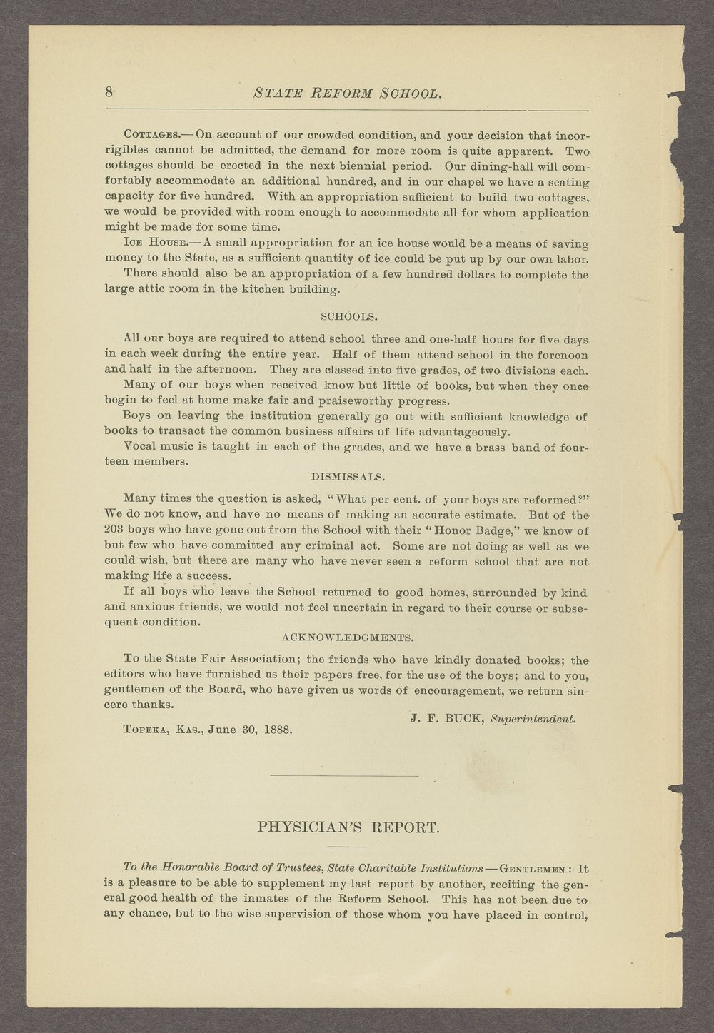 Biennial report of the State Reform School, 1888 - 8