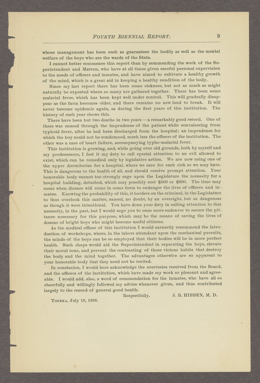 Biennial report of the State Reform School, 1888 - 9