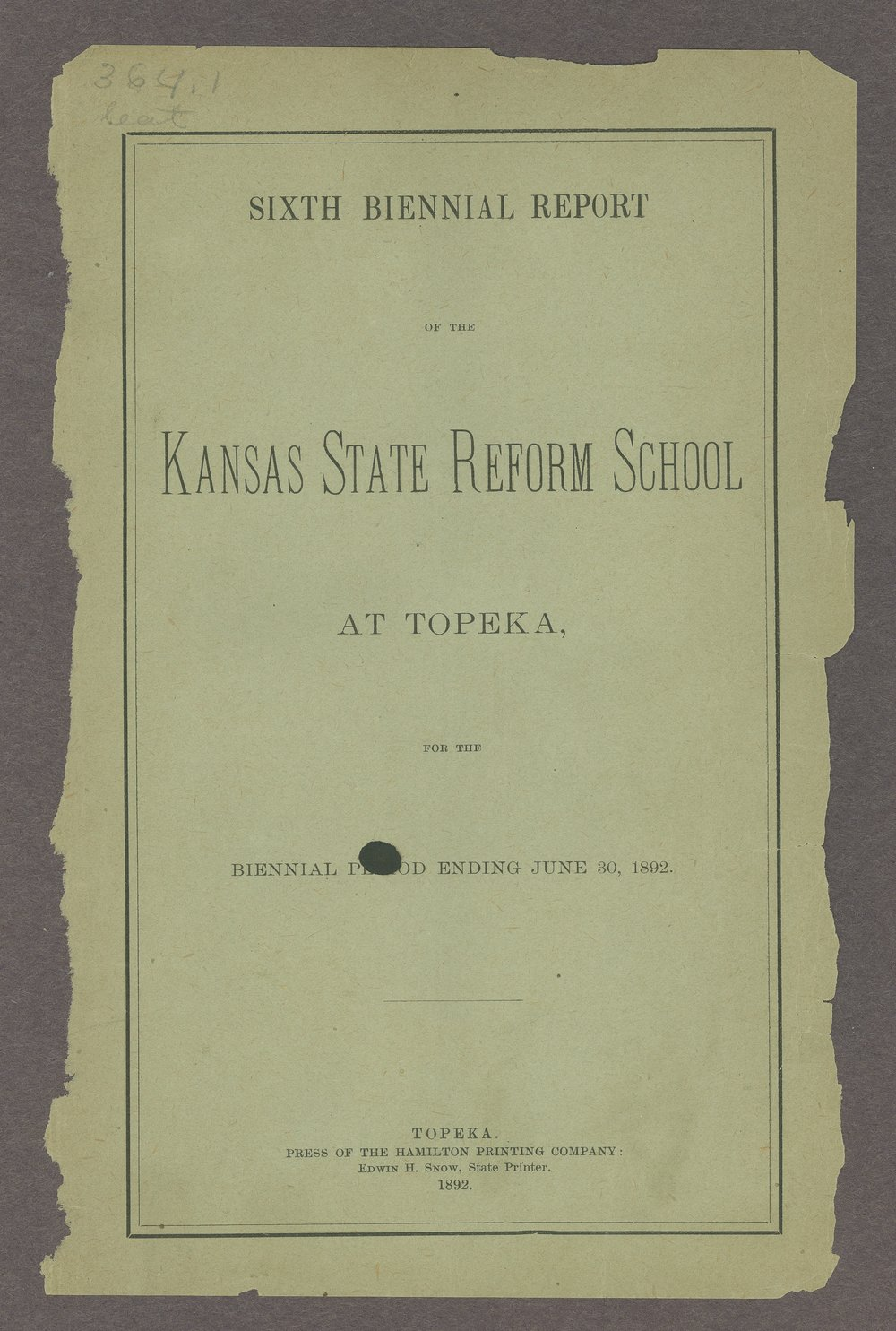 Biennial report of the State Reform School, 1892 - Front Cover