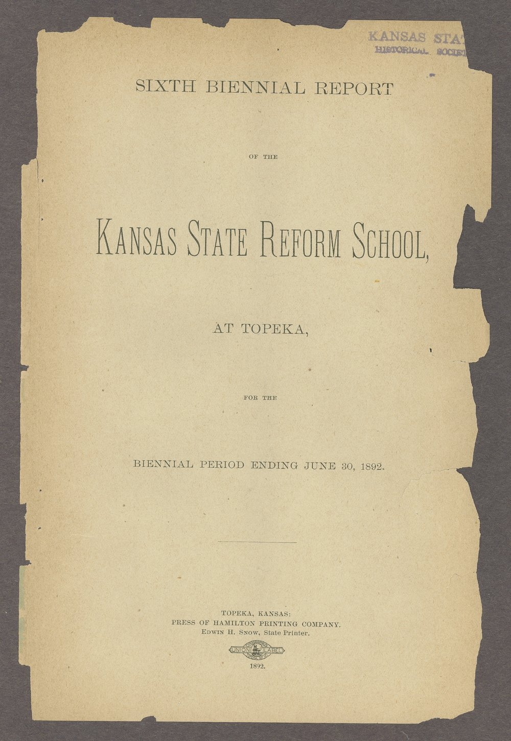 Biennial report of the State Reform School, 1892 - 3