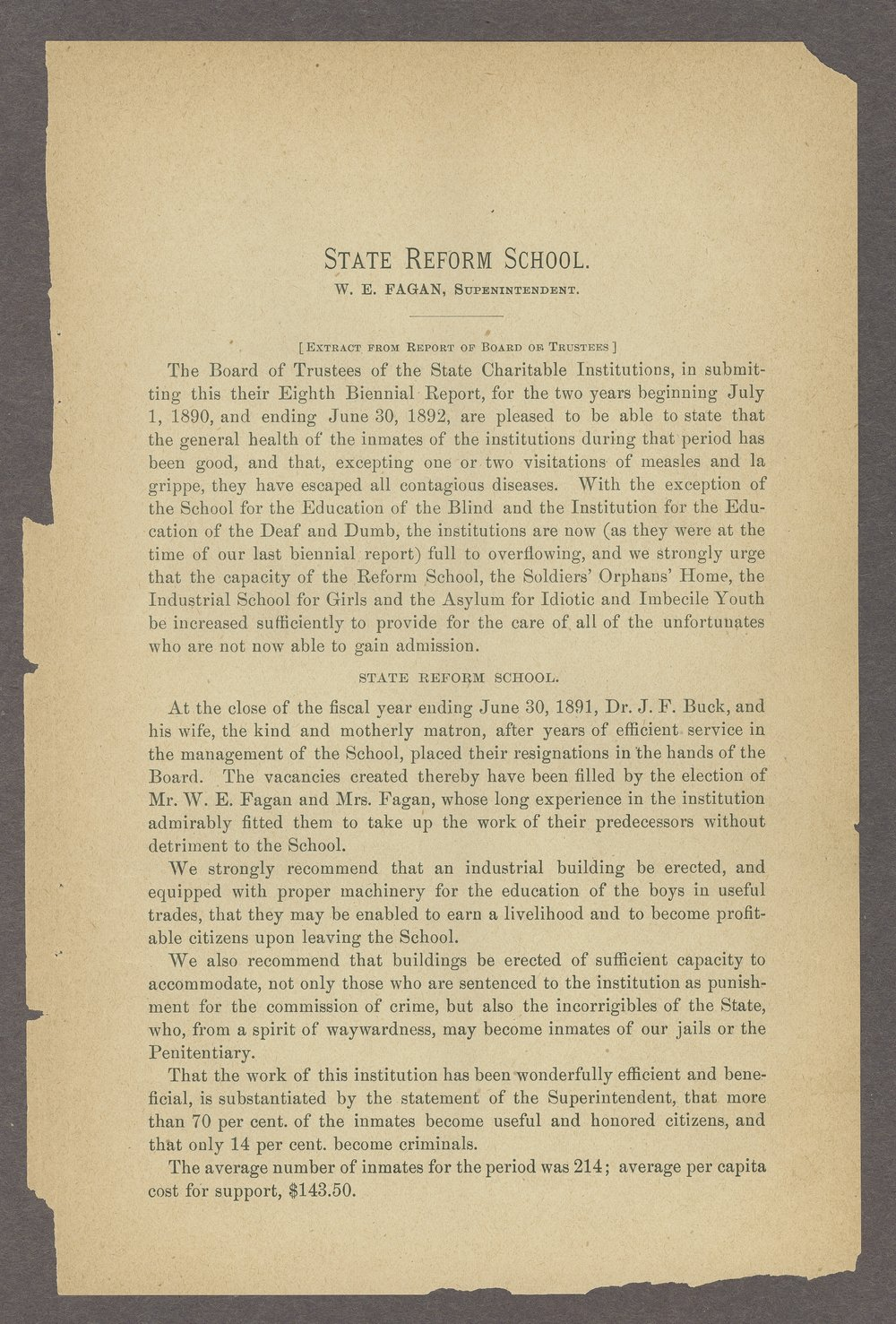 Biennial report of the State Reform School, 1892 - 5