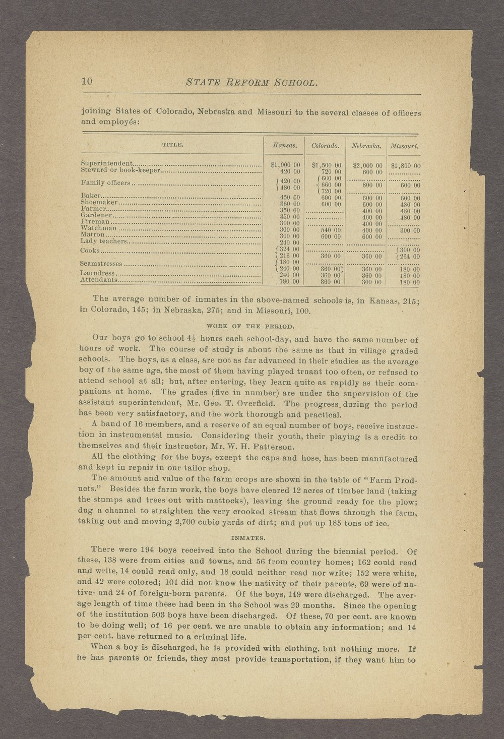 Biennial report of the State Reform School, 1892 - 10