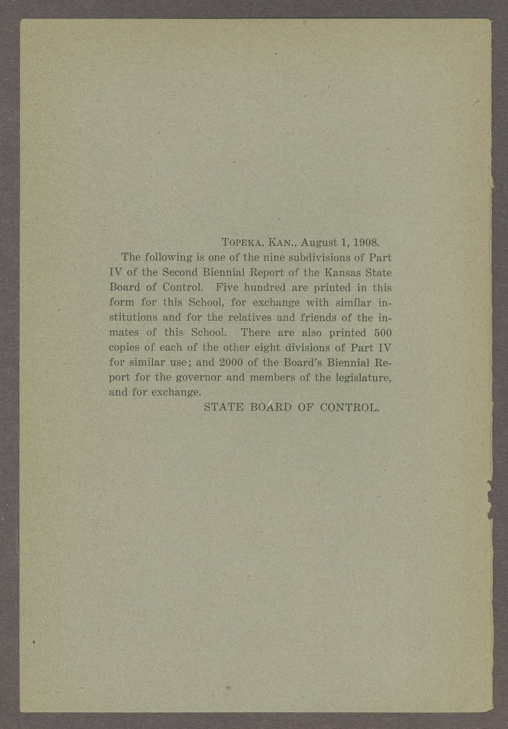Biennial report of the Boys Industrial School, 1908 - Inside Front Cover