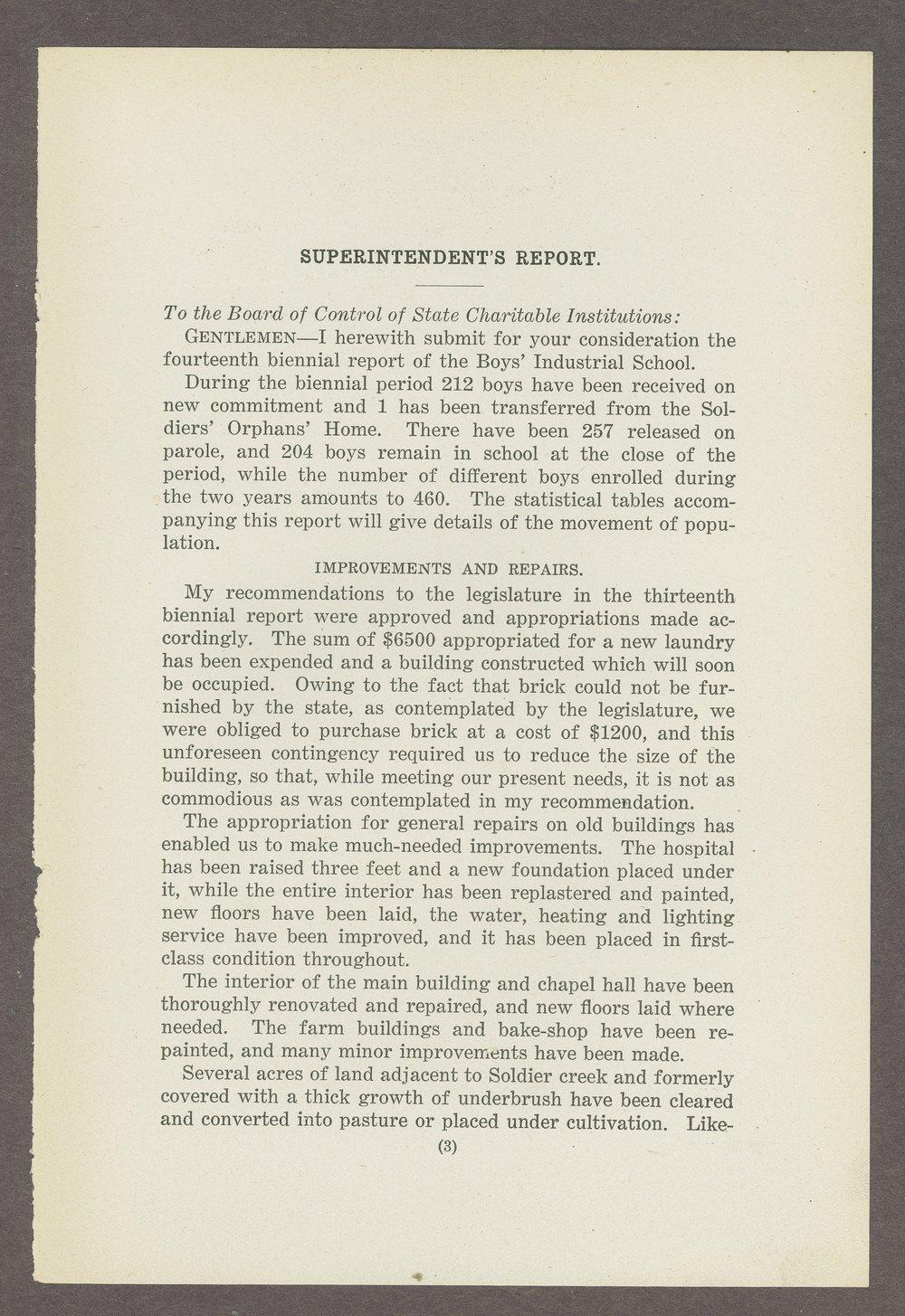 Biennial report of the Boys Industrial School, 1908 - 3