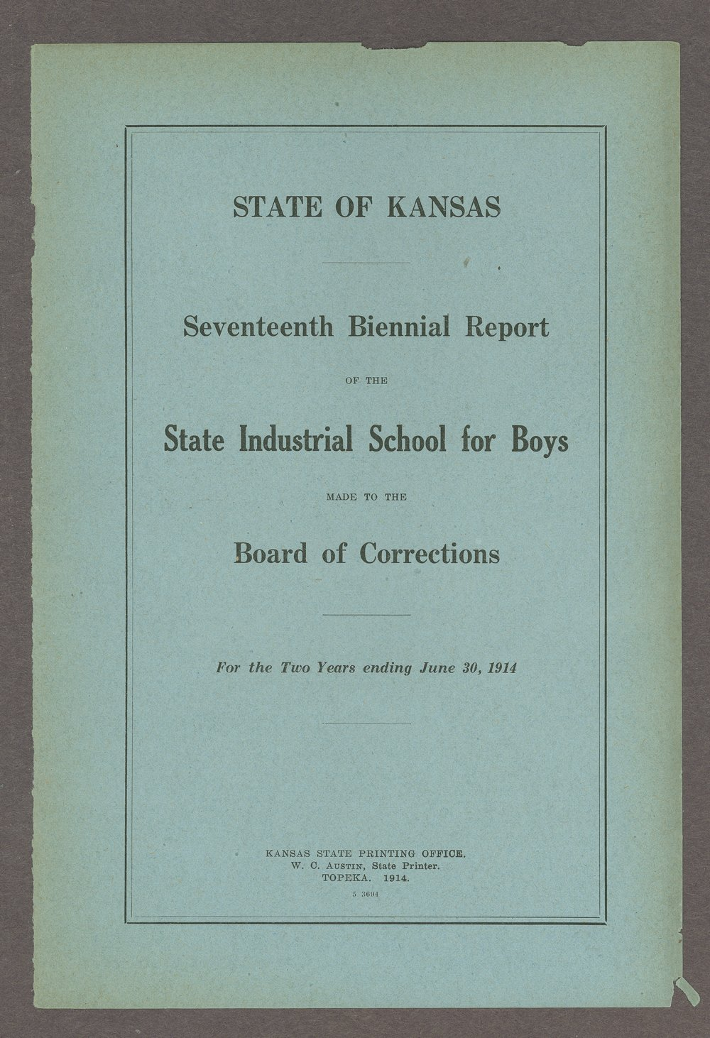 Biennial report of the Boys Industrial School, 1914 - Front Cover