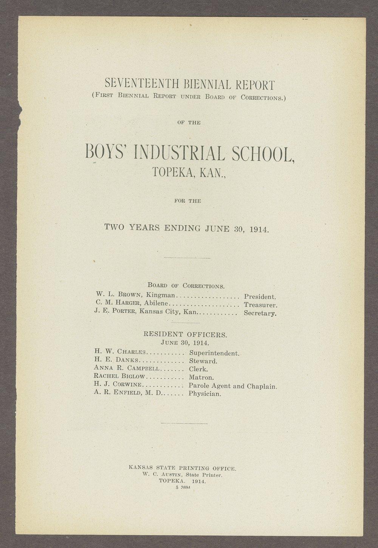 Biennial report of the Boys Industrial School, 1914 - 1
