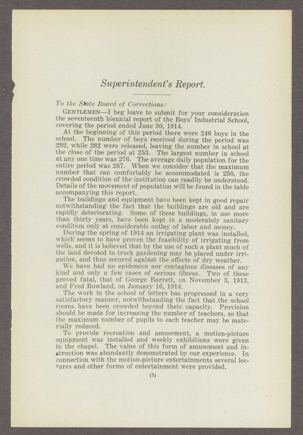 Biennial report of the Boys Industrial School, 1914 - 3