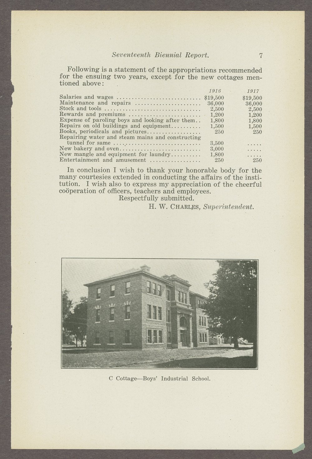 Biennial report of the Boys Industrial School, 1914 - 7