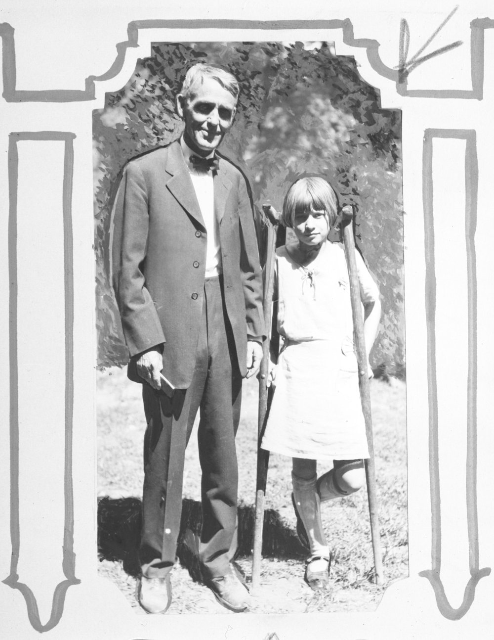 Arthur Capper and young girl with crutches