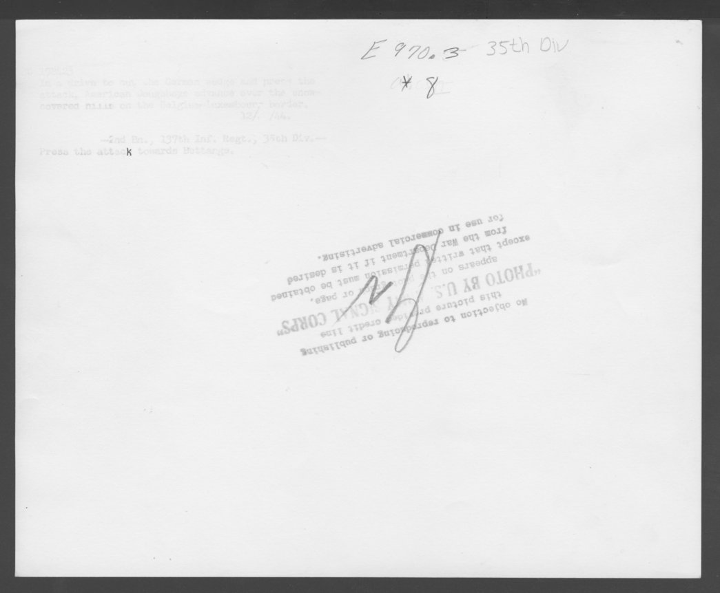 137th Infantry Regiment, 35th Division, Belgium, Luxemborg - 2