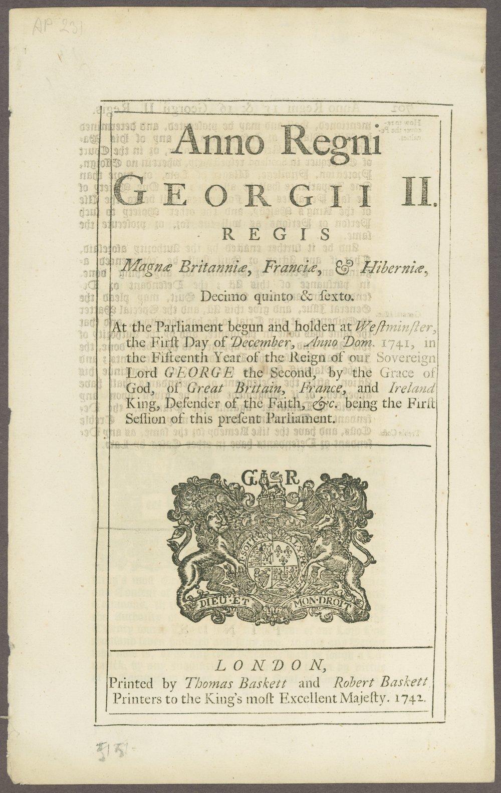 King George III materials - 1 [Box 1, Folder 1]