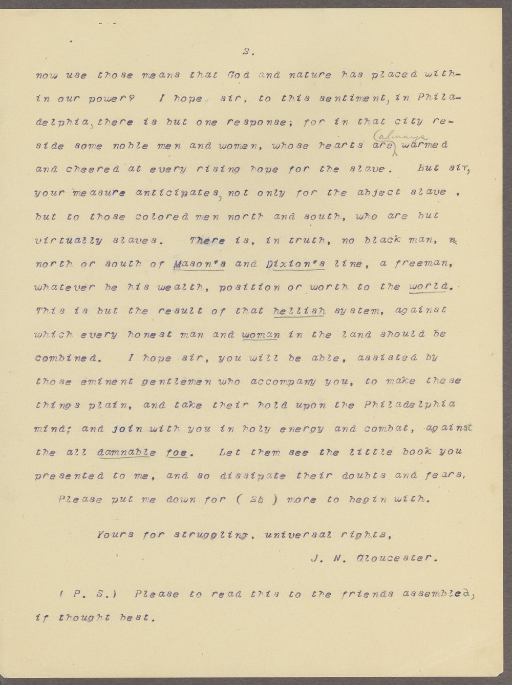 James N. Gloucester to John Brown - 6