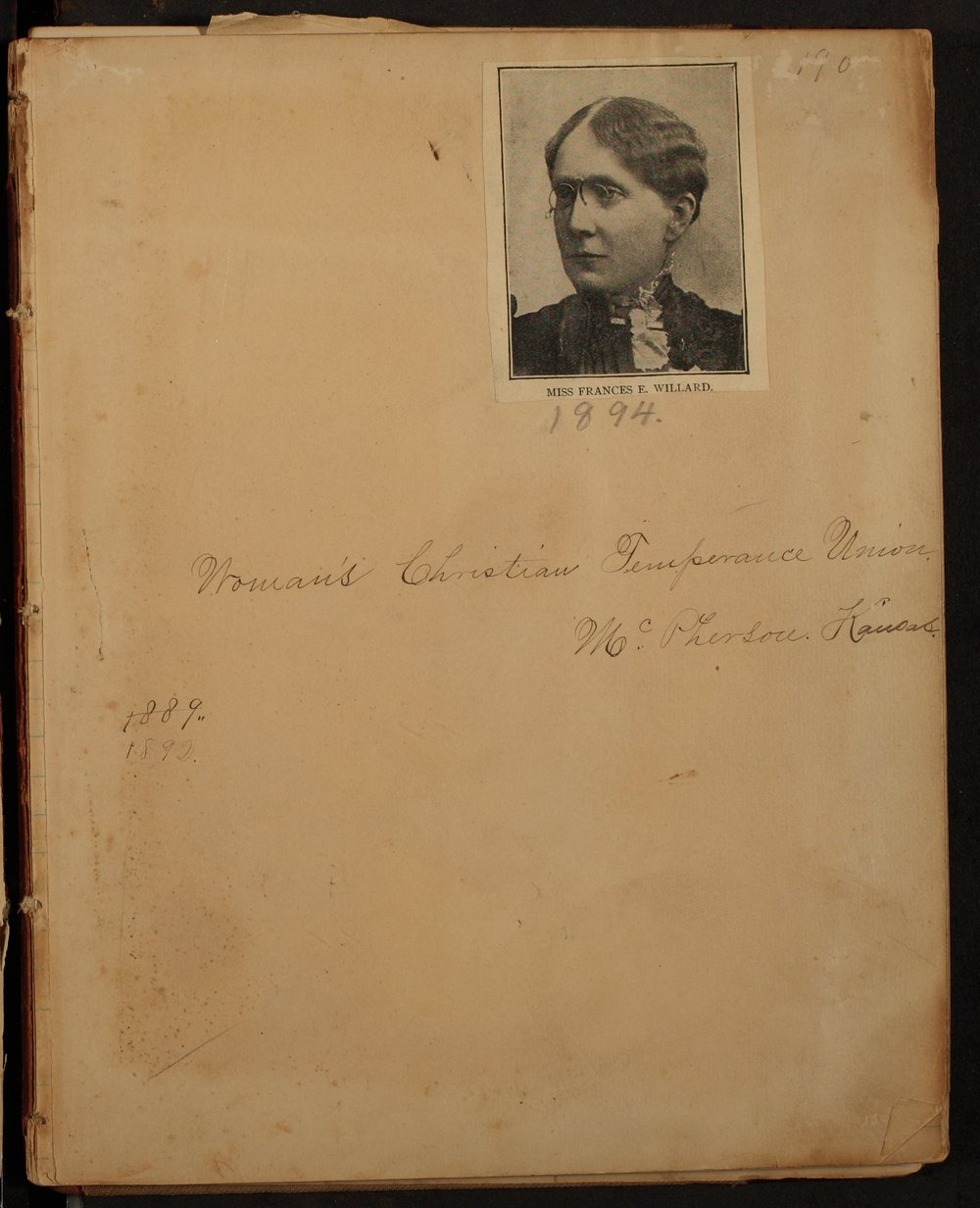 Minutes of the McPherson Chapter of the Woman's Christian Temperance Union - Facing Inside Front Cover