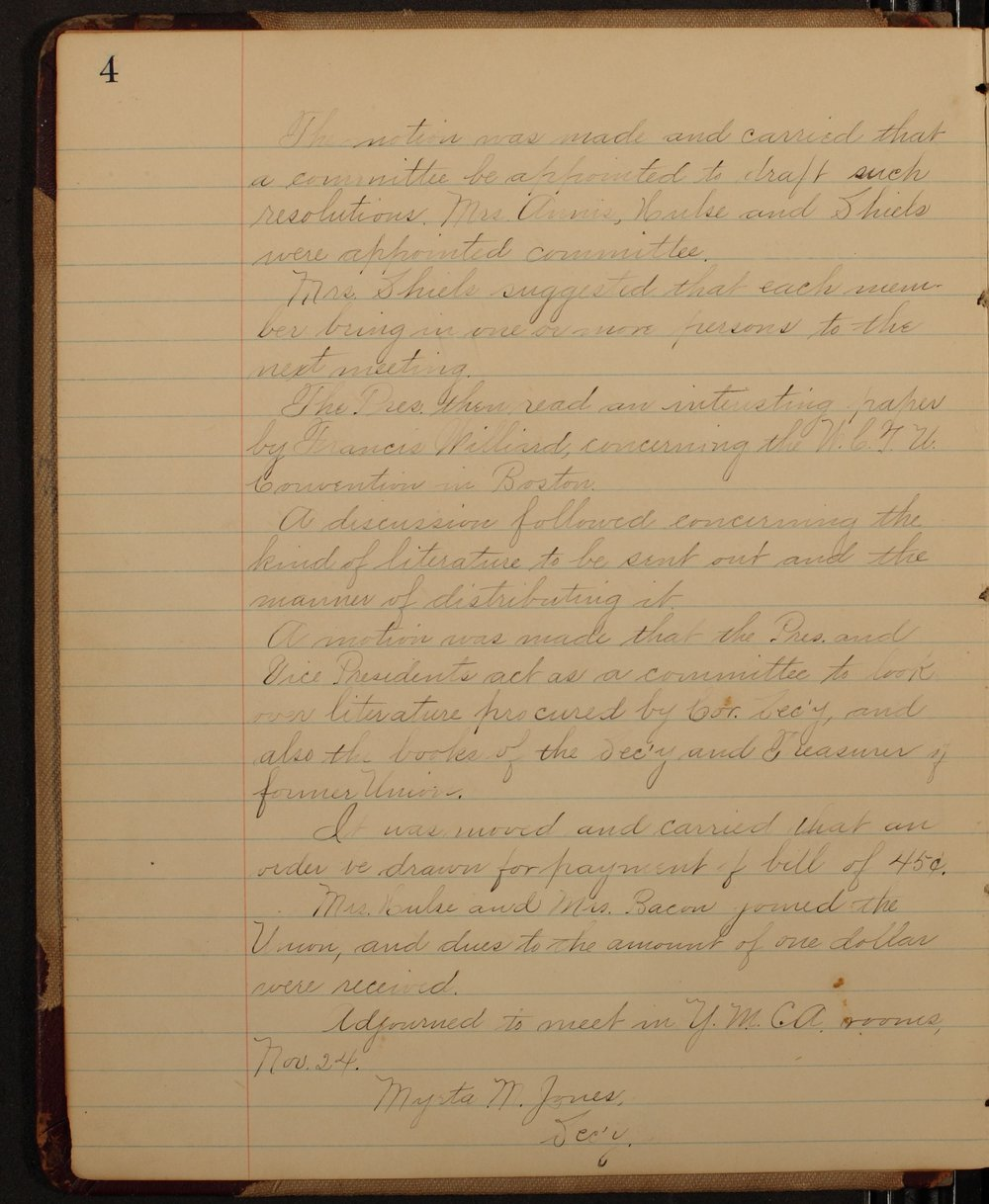 Minutes of the McPherson Chapter of the Woman's Christian Temperance Union - 4