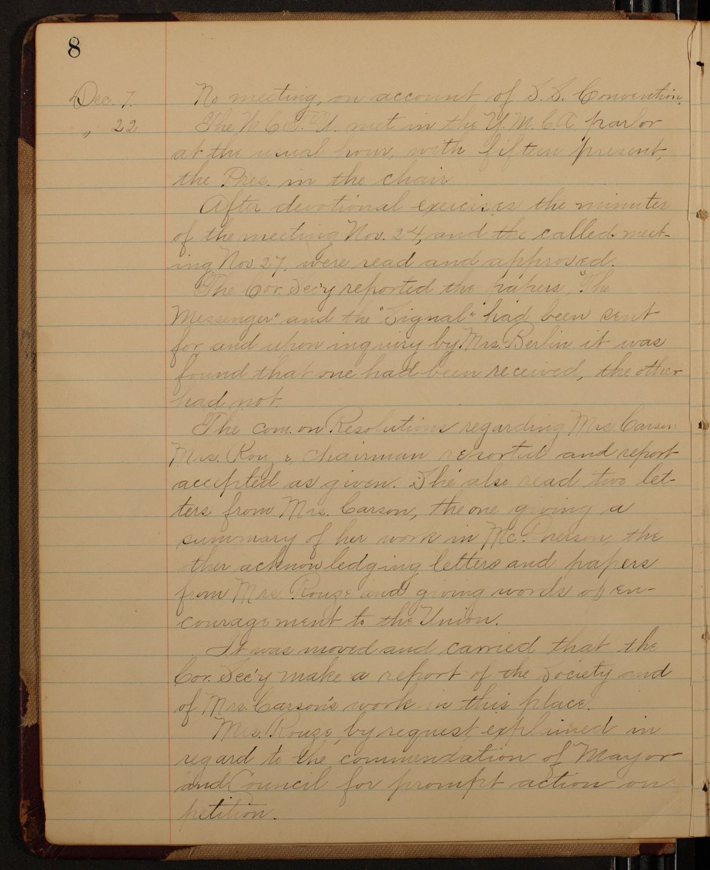Minutes of the McPherson Chapter of the Woman's Christian Temperance Union - 8