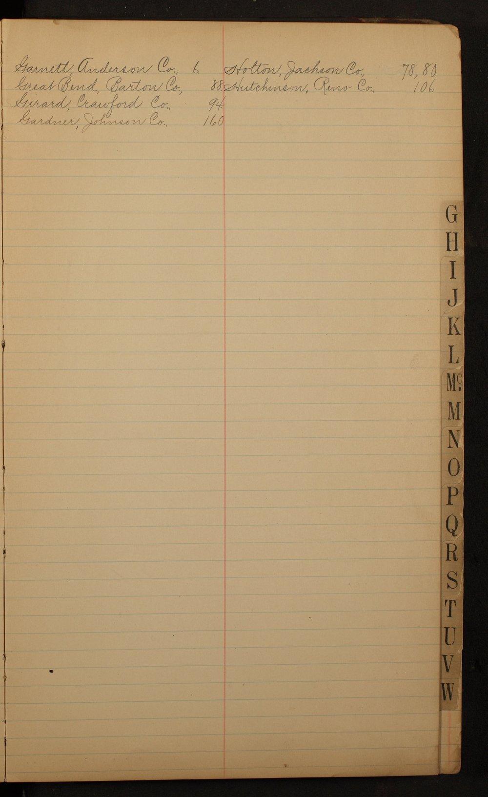 Kansas State Temperance Union expense journals - Index G-H