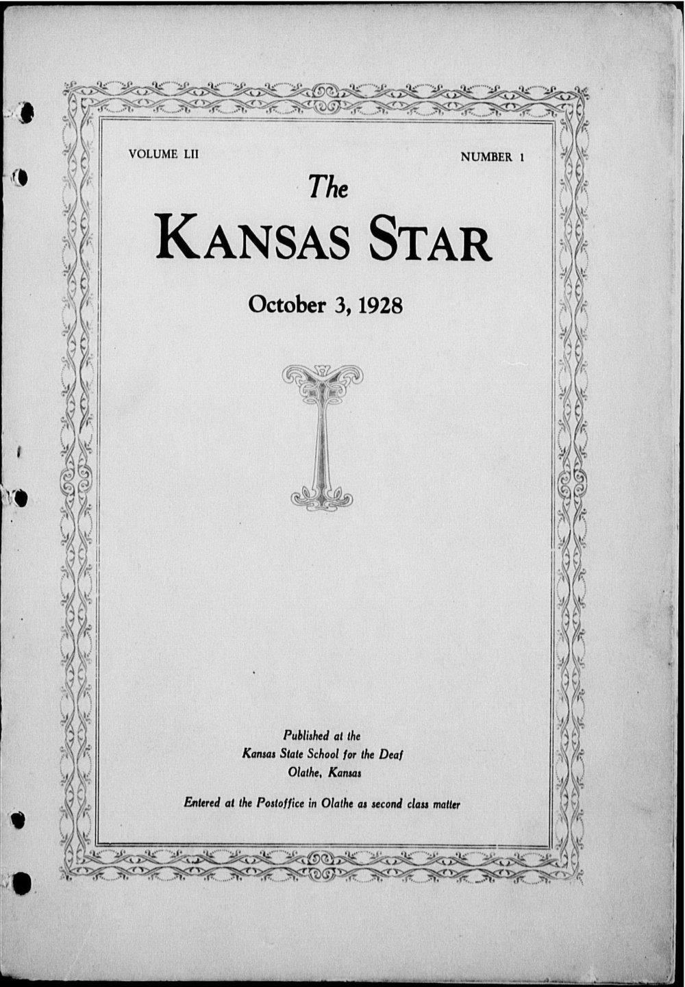 The Kansas Star, volume 52, number 1 - Front cover