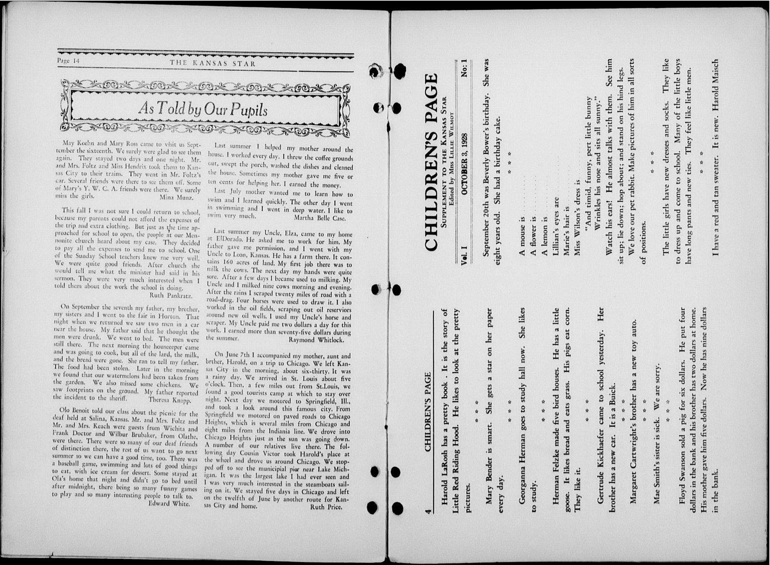 The Kansas Star, volume 52, number 1 - 14-Children's page