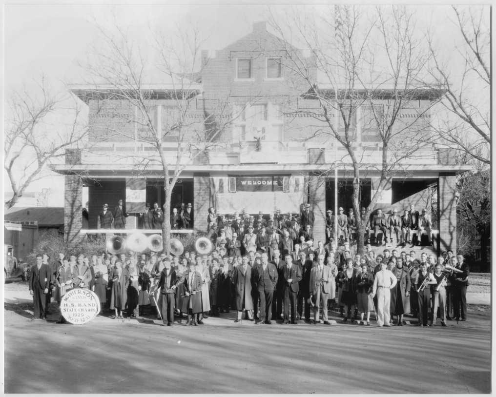 McPherson High School band in front of the Elks Lodge in McPherson, Kansas