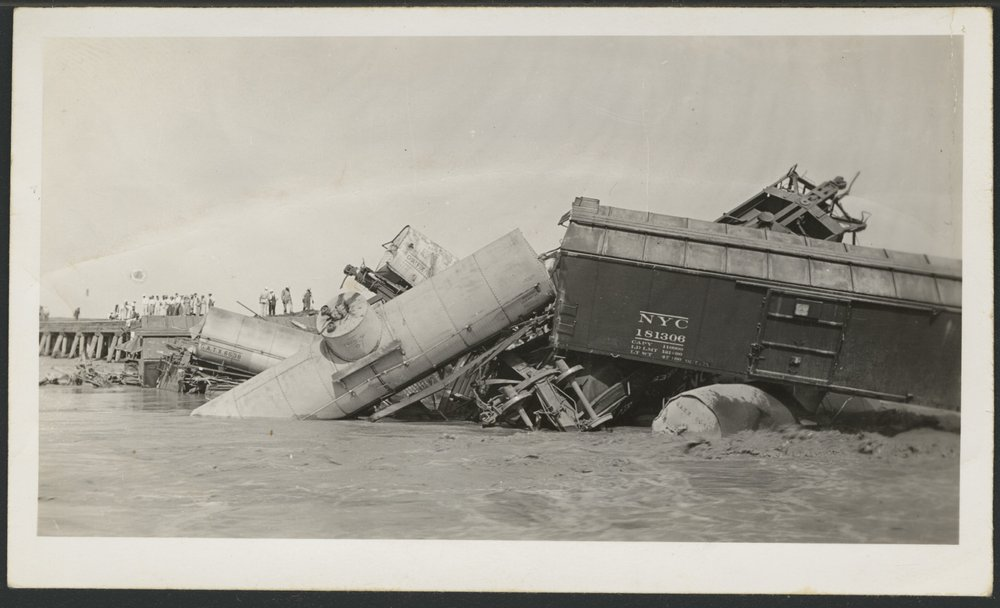 Cimarron River flood and train wreck in Seward County, Kansas - 2