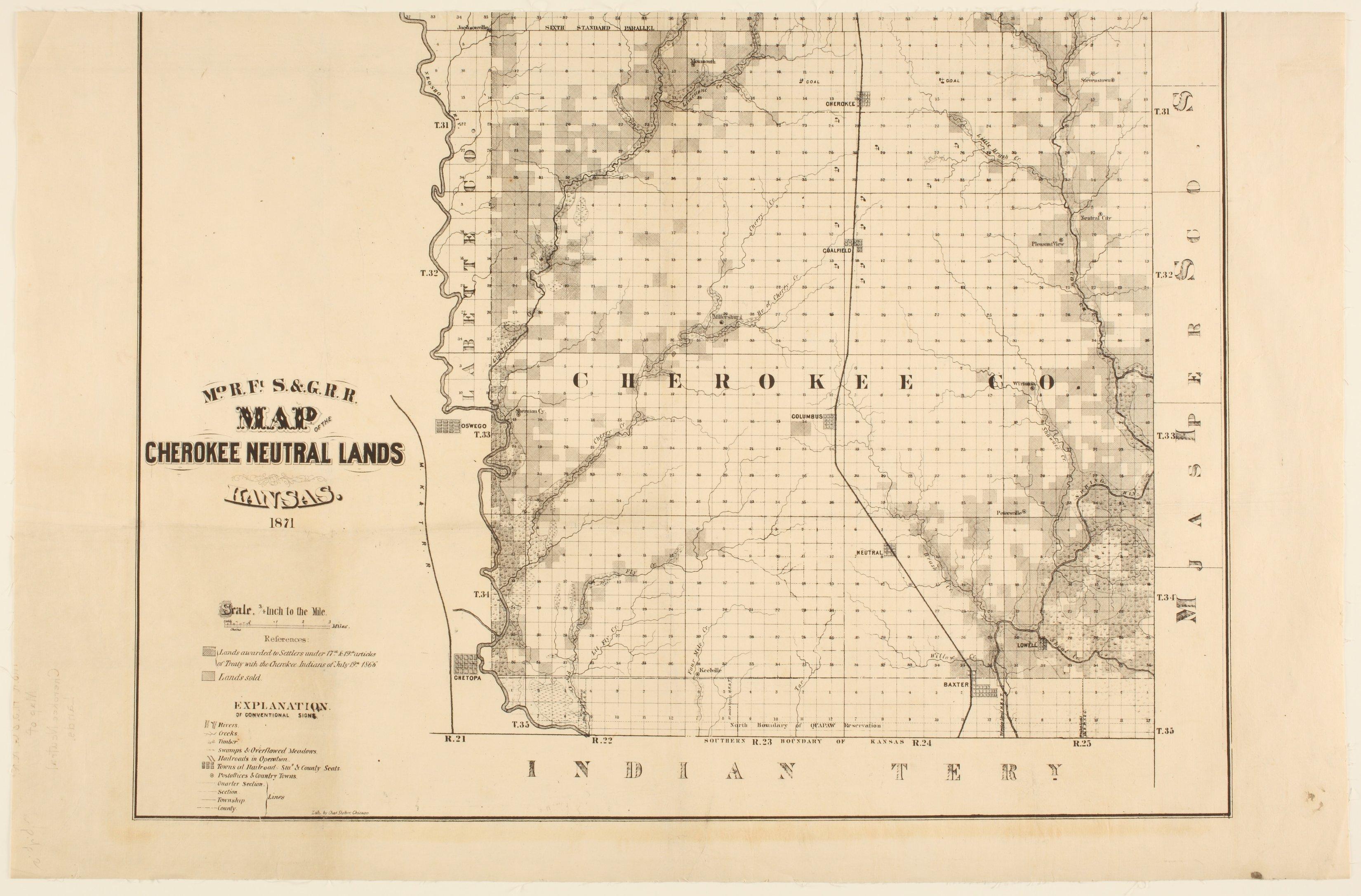 Missouri River, Fort Scott and Gulf Railroad map of the Cherokee neutral lands, Kansas - 1