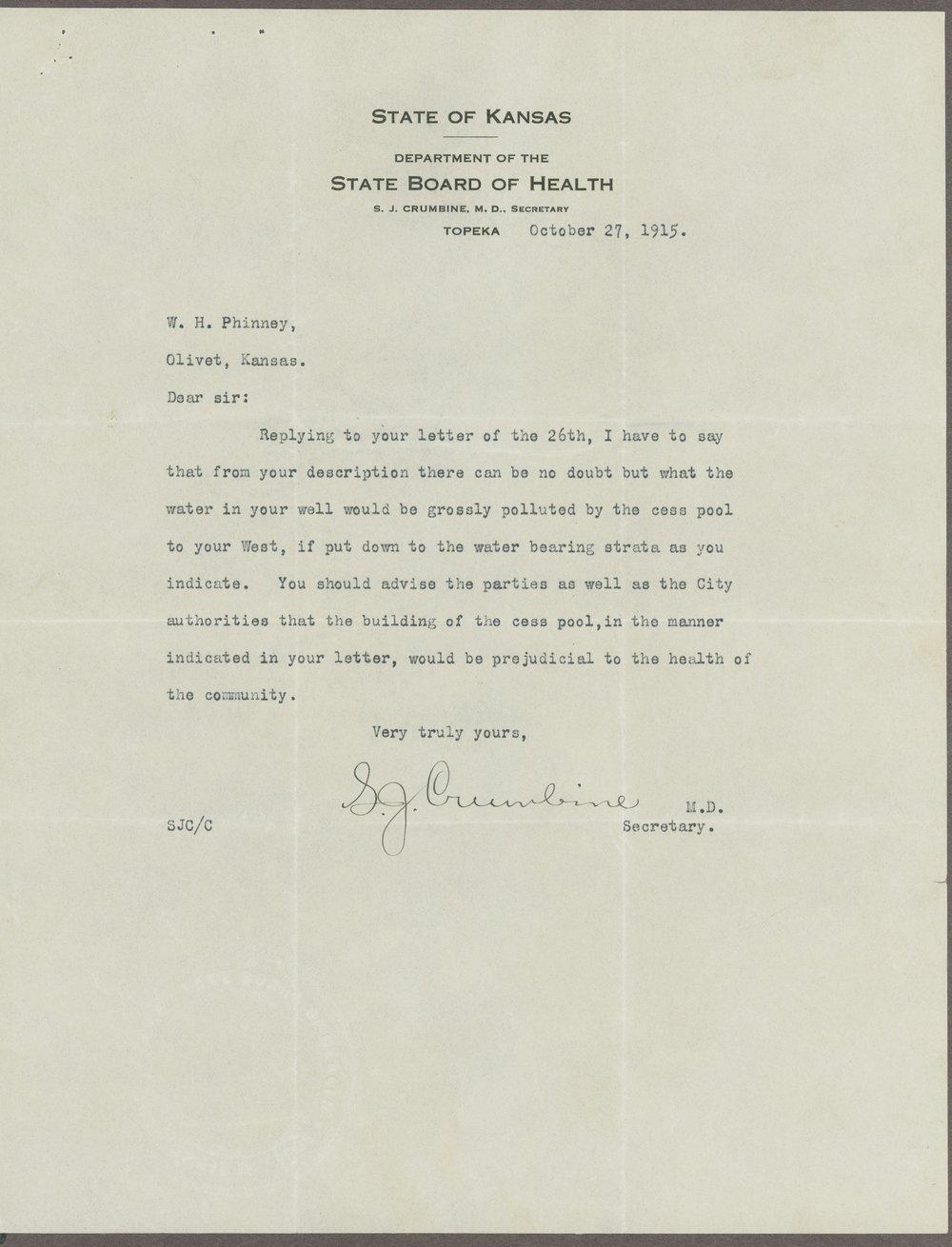 William H. Phinney to Samuel J. Crumbine - 1