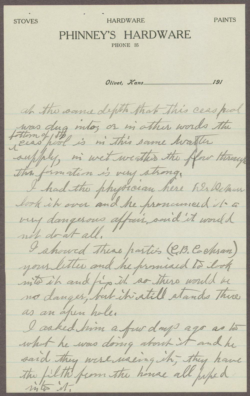 William H. Phinney to Samuel J. Crumbine - 3