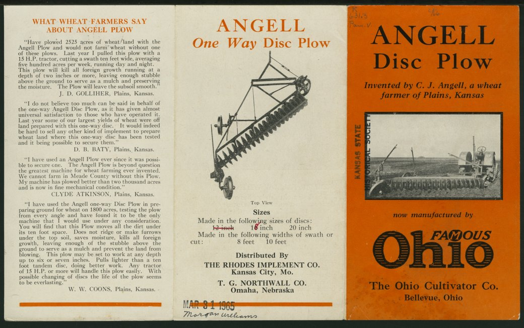 Angell disc plow advertising pamphlet - 1