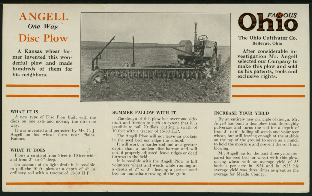Angell disc plow advertising pamphlet - 2
