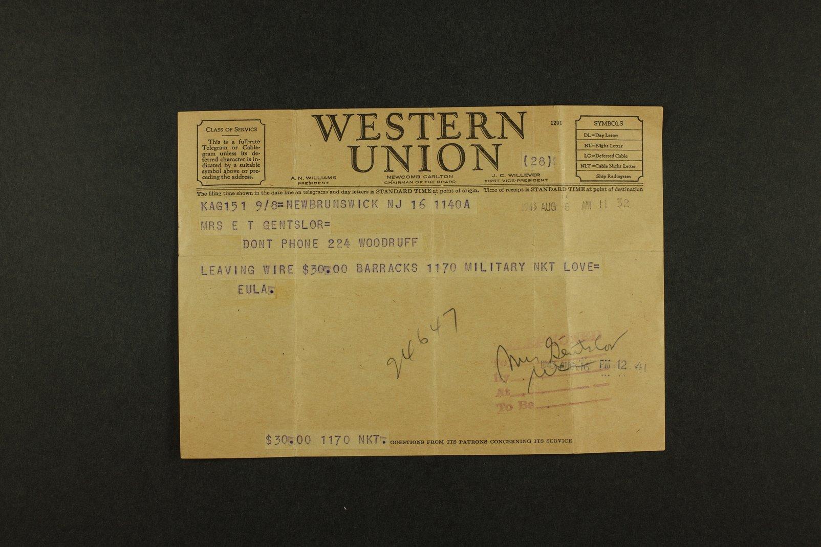Eula Gentzler papers - 1 [Family correspondence, August - December 1943]