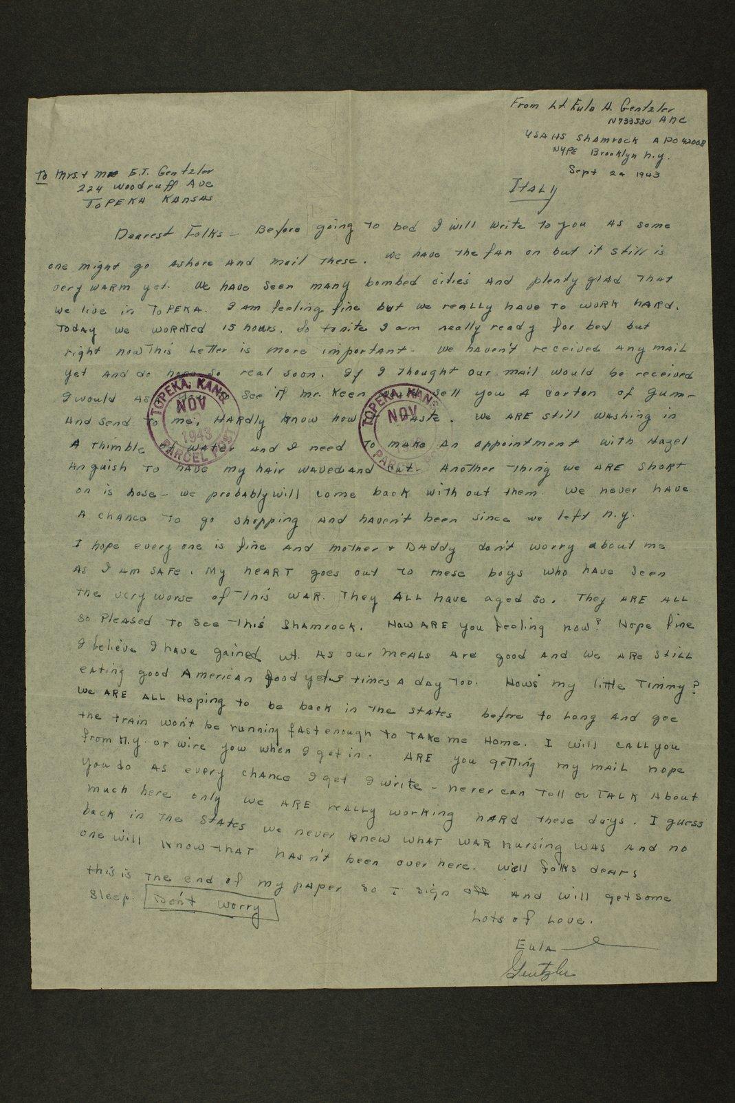 Eula Gentzler papers - 2