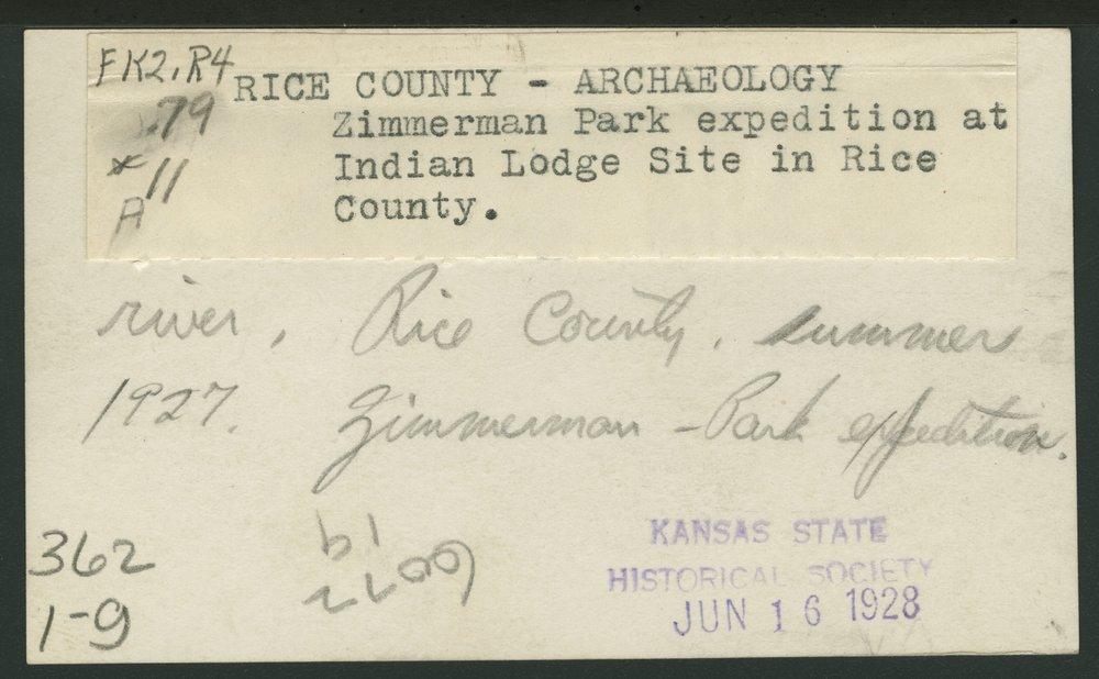 Zimmerman Park Expedition, Rice County, Kansas - backside