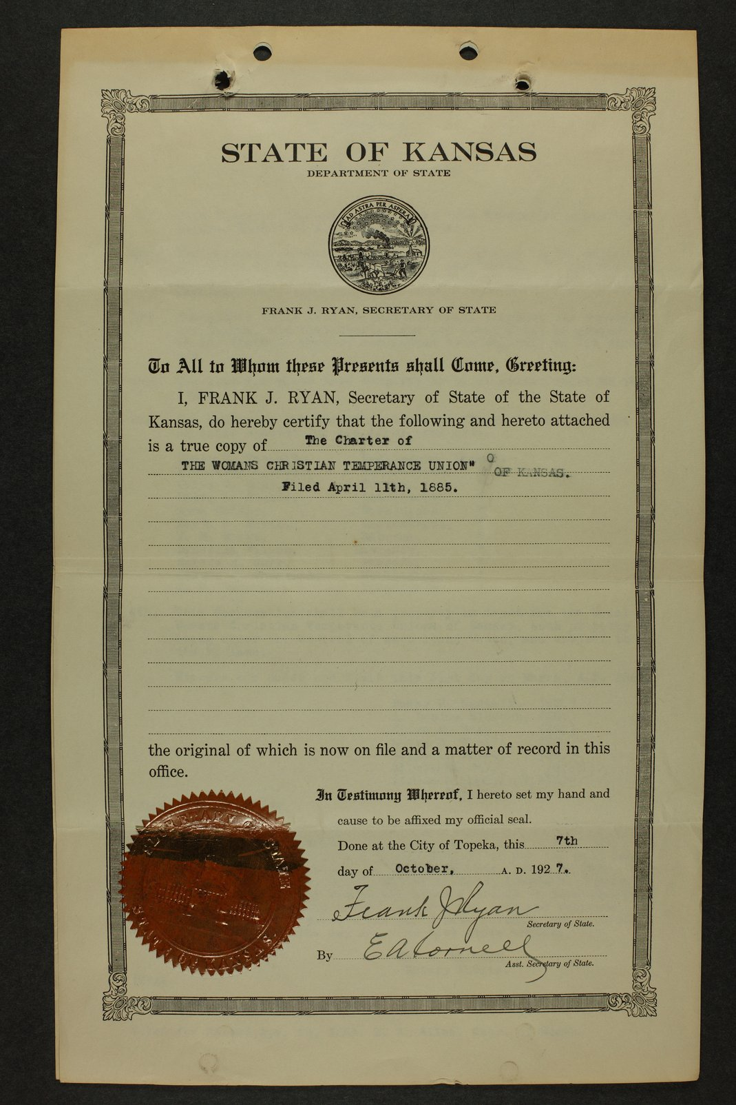 Kansas Woman's Christian Temperance Union permanent records - 1 [Box 5, Folder 1]