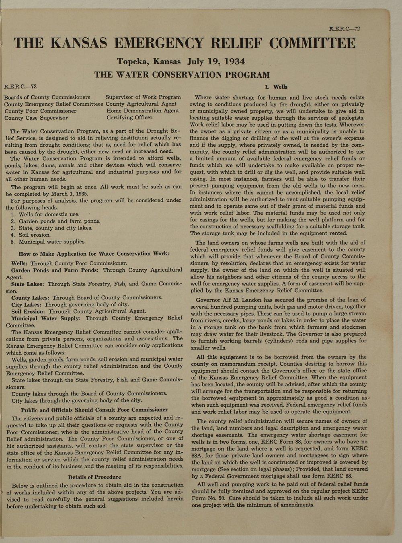 Kansas Emergency Relief Committee, bulletin 72 - 1