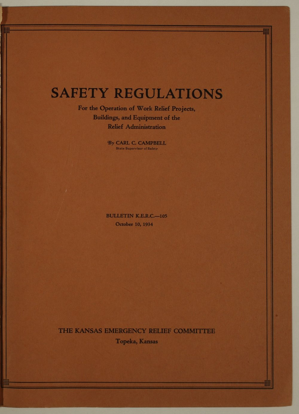 Kansas Emergency Relief Committee, bulletin 105 - Front Cover