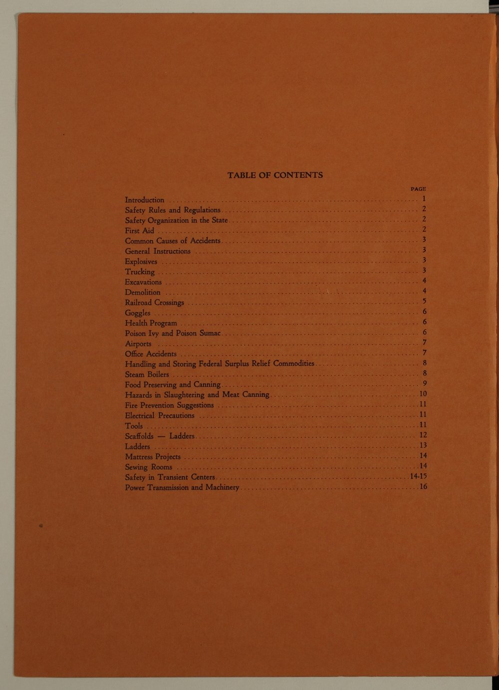 Kansas Emergency Relief Committee, bulletin 105 - Table of Contents