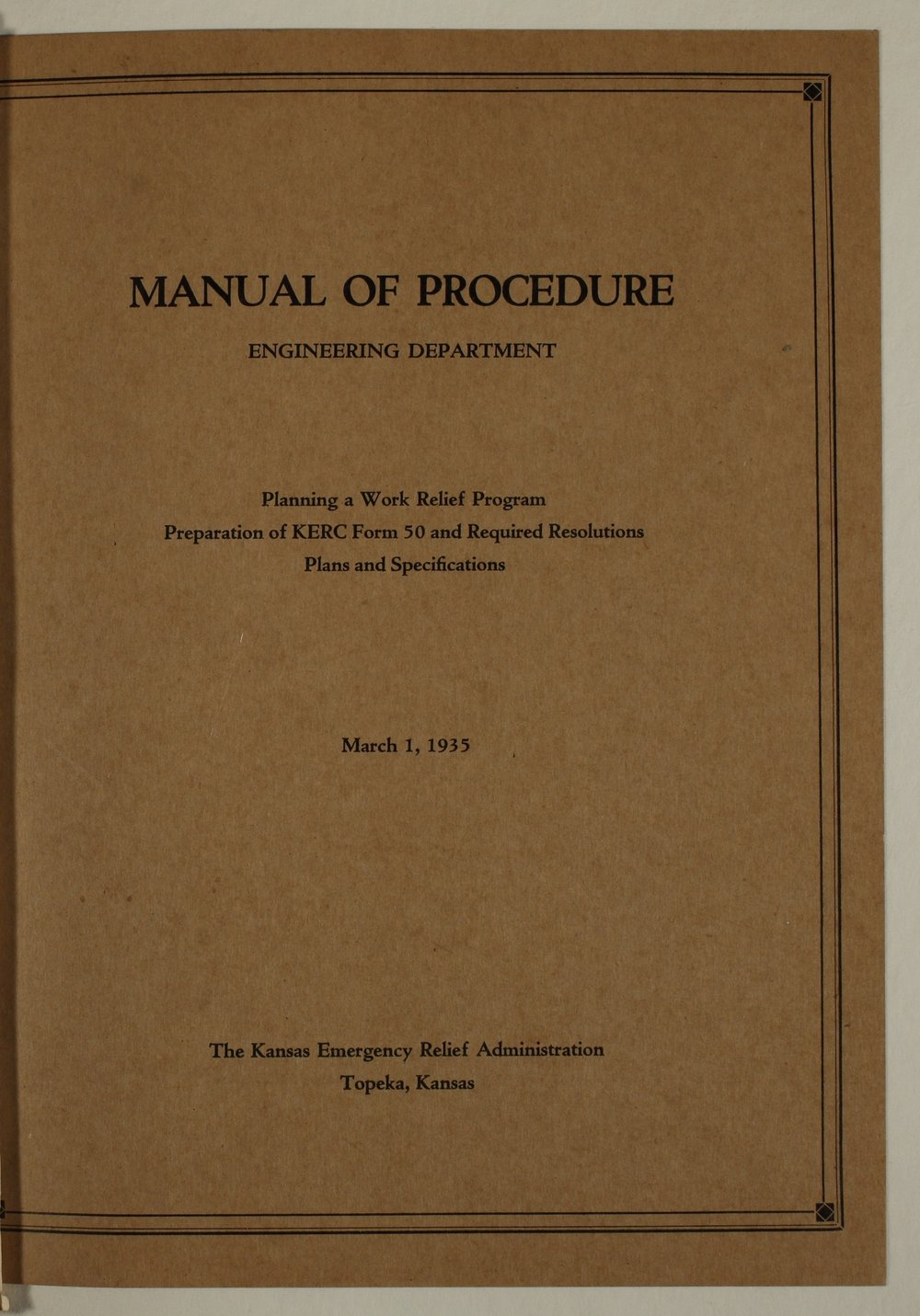 Manual of procedure, engineering department - Front Cover