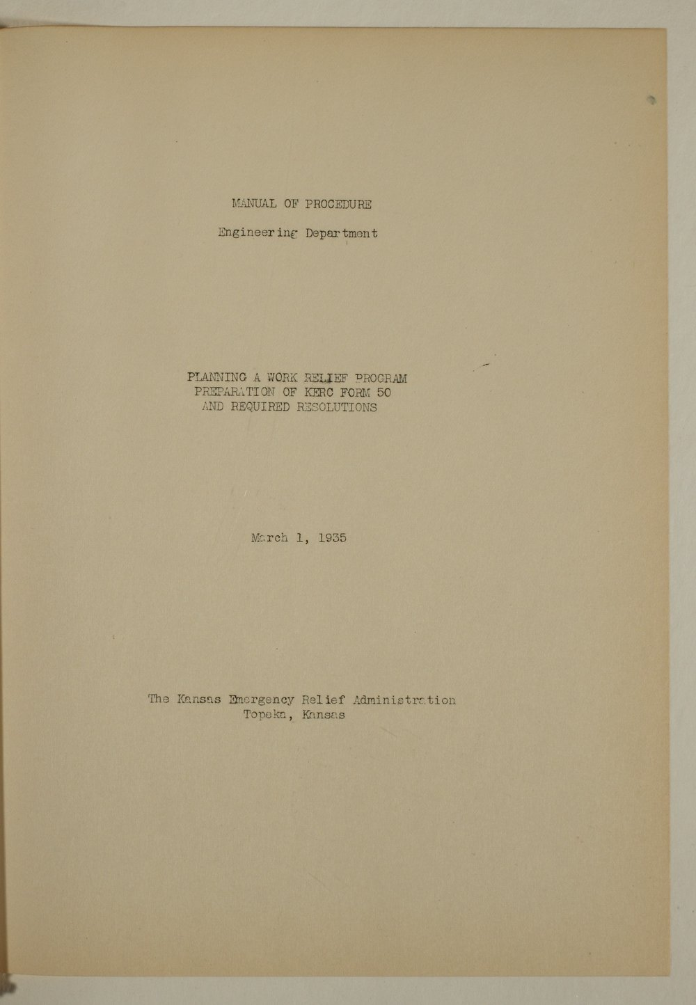 Manual of procedure, engineering department - Title Page, Section 1