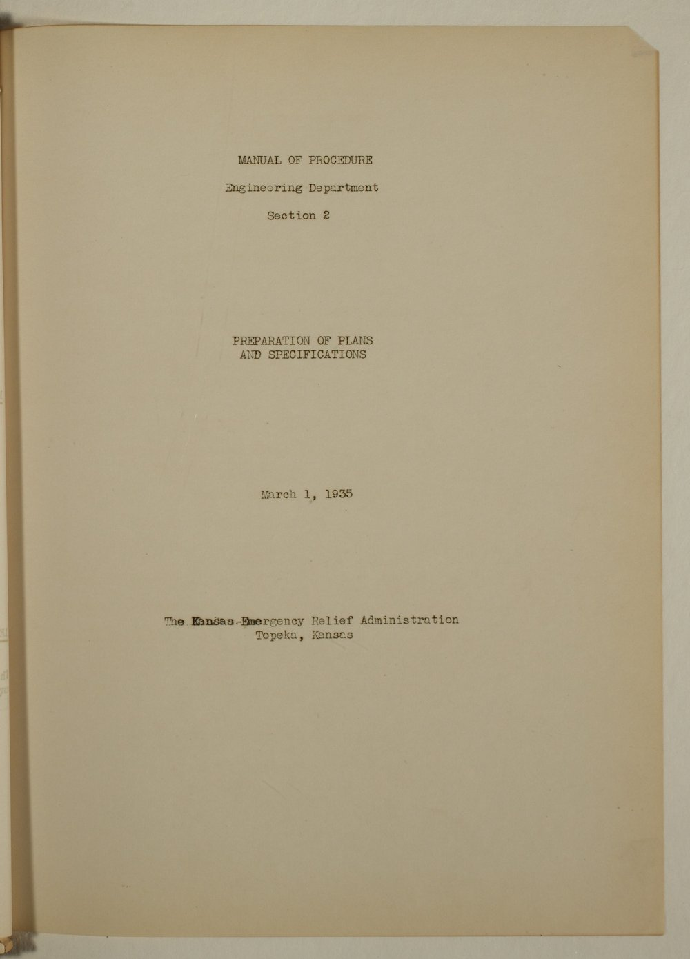 Manual of procedure, engineering department - Title Page, Section 2