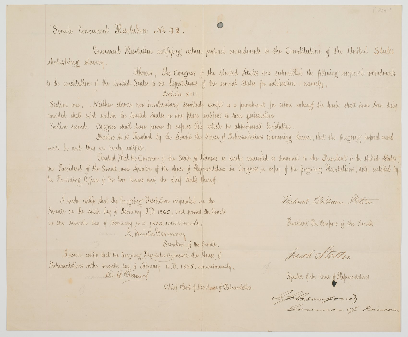 Senate Concurrent Resolution no. 42 ratifying the Thirteenth Amendment to the U. S. Constitution abolishing slavery